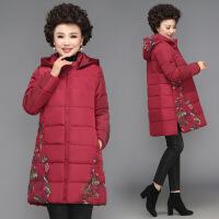 妈妈秋冬装外套女40岁50中老年人羽绒棉衣大码加厚棉袄中长款