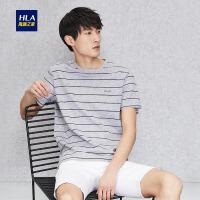 HLA/海澜之家微弹条纹短袖T恤2018夏季新品绣标针织T恤男