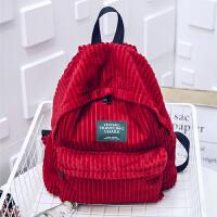 灯芯绒森系简约双肩包女大容量学生书包日韩版休闲旅行背包潮 红色 大红色
