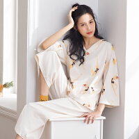 2018春季睡衣女士九分袖纯棉简约V领韩版时尚全棉秋款利发国际lifa88服套装6394