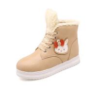 韩版2018女童靴子冬卡通女孩公主短靴加厚保暖毛靴兔兔棉靴童鞋女软底