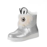 韩版2018秋冬女孩公主女童短靴可爱兔兔棉靴加厚绒亲子鞋毛靴童鞋软底