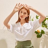 【1件3折到手价:54】美特斯邦威女宽松纯棉净色复古小立领衬衫