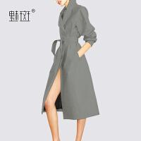 【新年狂欢到手价:443.7】魅斑2019流行风衣女秋季新款长袖灰色中长款洋气收腰显瘦气质外套