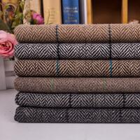复古羊毛人字呢料格子 人字纹粗纺毛呢布料短裙西装布料 1号色 卡其色一件半米