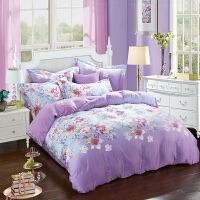 春秋保暖双面天丝磨毛四件套床上用品1.8m床被套4件套 白色 花物语