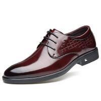 秋季男士皮鞋酒红色真皮商务正装休闲男鞋牛皮青年新郎婚鞋
