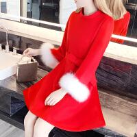 2018新款新娘敬酒服短款孕妇小礼服女冬季红色连衣裙结婚回门服毛呢子显瘦 红色