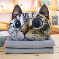 072615551可爱仿真猫咪抱枕被子两用腰靠枕靠垫二合一空调被毯子 36*36*28cm 毯子100*170cm