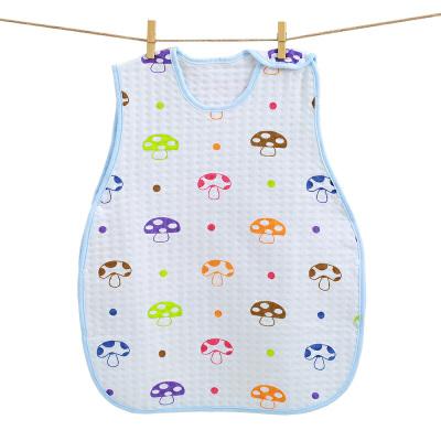 婴儿睡袋宝宝婴幼儿儿童纯棉蘑菇睡袋分腿防踢被小孩抱被空调包被 无袖小蘑菇睡袋