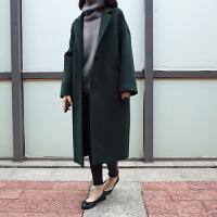 外套女长款秋冬韩版加厚大码百搭修身反季呢子大衣学院风潮