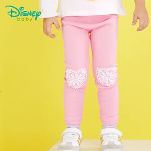 迪士尼Disney 童装女童打底裤春秋装新品宝宝可开裆花边蕾丝长裤173K764