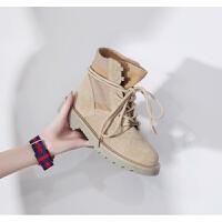 冬季马丁靴女战狼2同款鞋潮中帮短靴子男加绒棉鞋情侣雪地靴 沙色短靴(单里 女鞋)