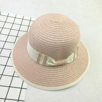 新款儿童宽沿草帽蝴蝶结防晒遮阳盆帽女童学生包边沙滩太阳帽 M(56-58cm)