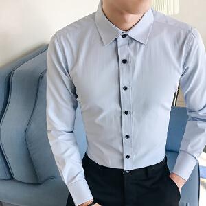 男装春秋季韩版寸衫纯色衬衣男士商务休闲修身长袖衬衫潮