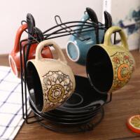 网红家用咖啡杯 欧式小奢华 优雅美式陶瓷咖啡杯碟勺架子简约套装