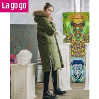 Lagogo2017冬季新款白鸭绒长袖大毛领羽绒服加厚中长款女连帽外套