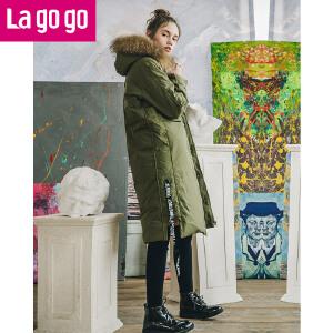 【清仓3折价379.8】Lagogo2019冬季新款白鸭绒长袖大毛领羽绒服加厚中长款女连帽外套