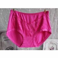女士内裤女竹纤维纯色大码莫尔吸汗透气女士中腰女三角内裤条装女 1 腰围2尺1-2.5