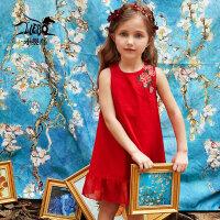 裂帛童装2018夏季新款针织无袖小圆领连衣裙刺绣裙子女童56180029