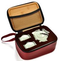 陶瓷功夫茶具整套装家用一壶二四杯户外便携快客旅行托盘定制logo