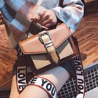 复古手提包包2018韩版新款斜挎包时尚大气撞色女包单肩宽带小方包