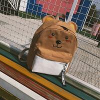中学生书包女韩版可爱刺绣猫咪兔子背包街拍个性百搭双肩包闺蜜包 小熊