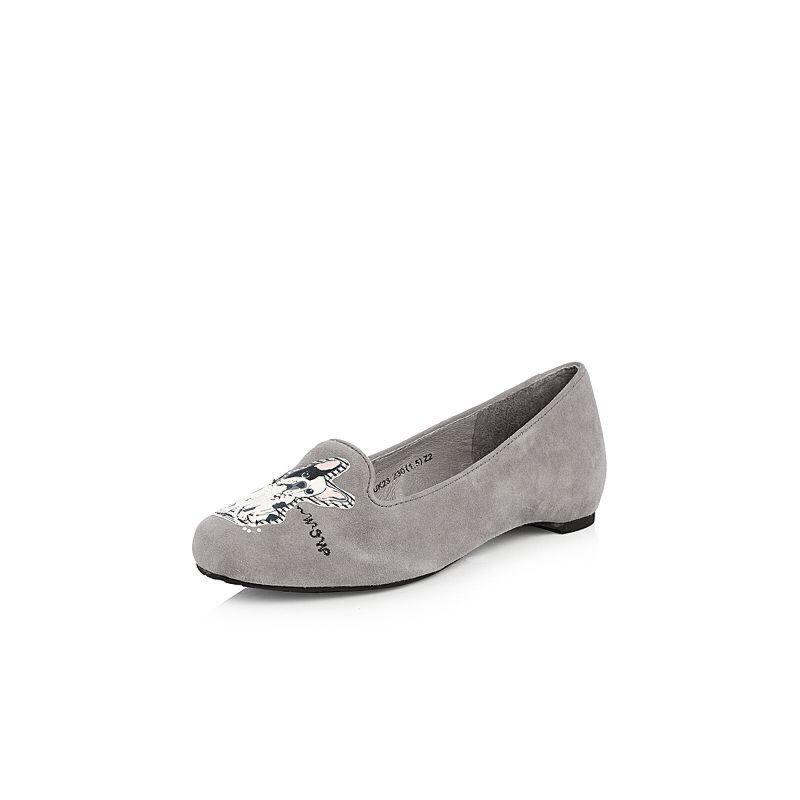 Teenmix/天美意2018春专柜同款羊绒皮卡通浅口女休闲鞋6UK23AQ8