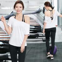 韩版女士跑步运动裤显瘦瑜珈衣 速干健身房服晨夜跑三件套装女瑜伽服露背