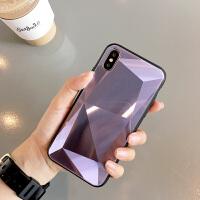 创意菱形镜面苹果x/xs/max手机壳简约纯色玻璃男女款iPhone6s/7/8plus个性网红情侣 苹果XS Max