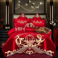 全套婚姻被全棉婚庆四件套大红新婚高端中欧式红色结婚喜庆被子纯棉床上用品