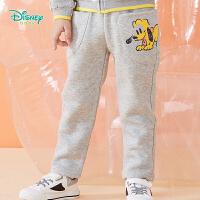 迪士尼Disney童装 男童加绒保暖长裤冬季新品卡通印花休闲裤短毛绒裤子 194K926