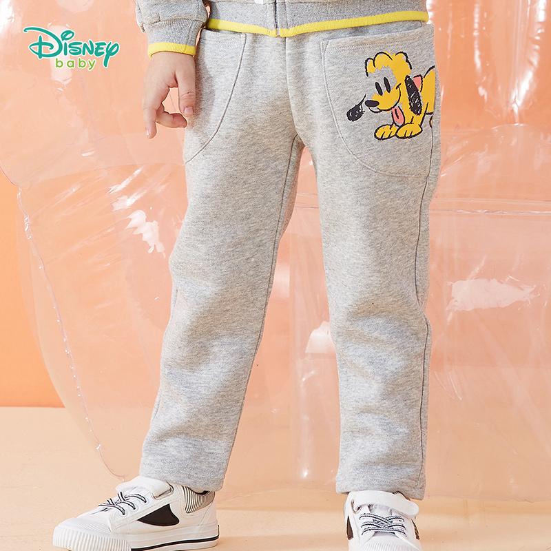 迪士尼Disney童装 男童加绒保暖长裤冬季新品卡通印花休闲裤短毛绒裤子 194K926 双层保暖,表层抓绒卫衣布,内里短毛绒