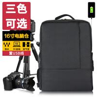 佳能相机包USB单反尼康摄影包男女微单双肩包700D750D70D80D 经典黑色 休闲相机包 USB充电