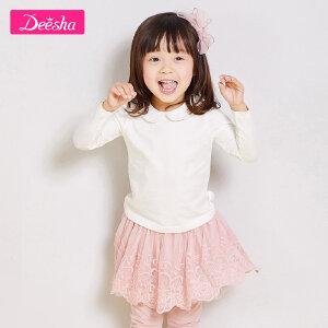 【109/3件】笛莎女童宝宝T恤2019春装新款甜美可爱翻领小公主纯色长袖T恤