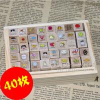 韩国文具 可爱日记印章 快乐女孩印章 happyday 印章40枚入 木盒diy日记印章