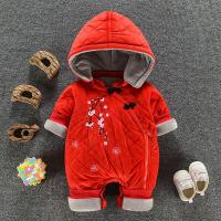 宝宝冬装女0一1岁满月百天照礼服婴儿衣服潮款加绒加厚连体衣秋冬