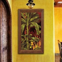 装饰画 有框画 油画 东南亚风格 过道 玄关挂画 家装饰品 褐色 60*104 单幅