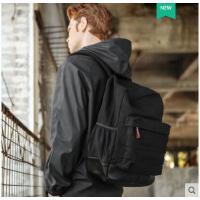 双肩包男大初高韩版帆布电脑旅行背包中学生书包时尚潮流男士