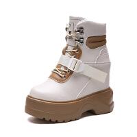 加绒短靴秋冬2018新款网红靴瘦瘦百搭马丁靴女短筒内增高高跟鞋潮真皮