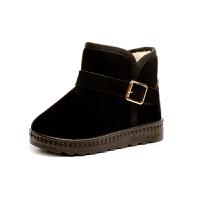 儿童雪地靴短筒冬季户外加绒保暖男童女童棉鞋潮宝宝短靴 黑色 时尚带扣