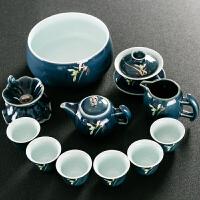 整套景德镇霁蓝釉陶瓷功夫茶具套装侧把茶壶茶杯盖碗家用简约