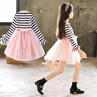 童装女童连衣裙韩版秋冬韩版长袖针织条纹网纱中大公主裙