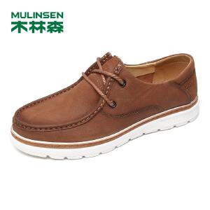 木林森男鞋(MULINSEN) 2018年秋季新款户外休闲鞋运动板鞋日常休闲驾车鞋皮鞋87051408