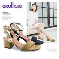 依思q夏季新款时尚绒布一字带女鞋优雅粗跟高跟凉鞋