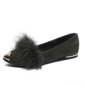 WARORWAR新品YM124-A-18冬季日系平底舒适女士毛毛单鞋