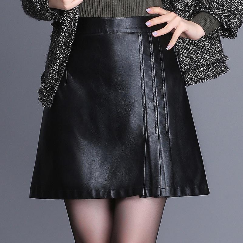 皮裙半身裙女字裙秋冬新款黑色松紧腰百搭皮短裙子包臀一步裙