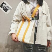 2018新款chic女单肩斜跨帆布包ins超火包韩版学生文艺清新大包包