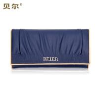 BEIER 贝尔 新款头层牛皮柔软多功能手拿包长款女士钱包皱褶时尚手包钱夹