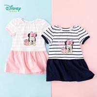 迪士尼Disney童装 女童连衣裙夏日条纹海军风短袖裙子2020年夏季新品米妮印花拼接款